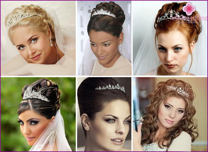 تصاویری از مدل های تاج سنگ عروس روی شینیون و موی باز