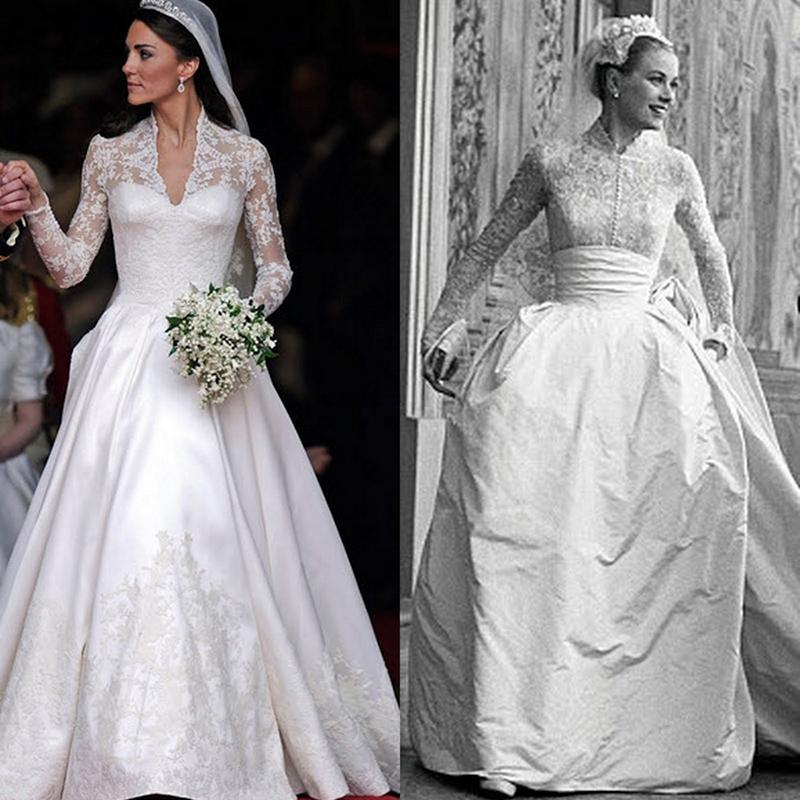 لباس عروس کیت میدلتون تا حدی یادآور لباس گریس کلی با همان آستین های بلند و با همان نوارهای توری است