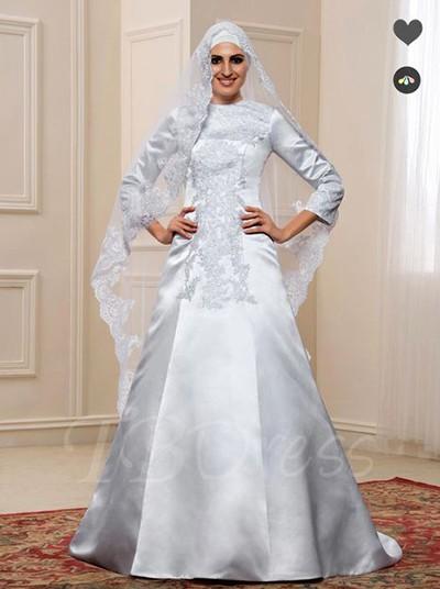 لباس عروس پوشیده ساتن