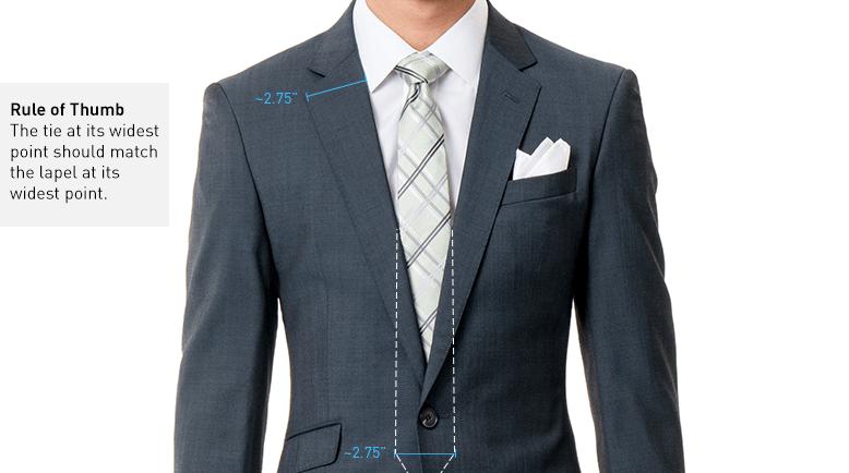 پهنای کراوات باید با پهنای یقه کت تناسب داشته باشد.