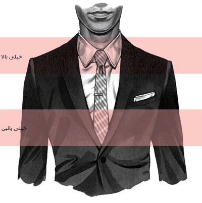 جای درست سنجاق کراوات مابین دکمه سوم و چهارم پیراهن است.