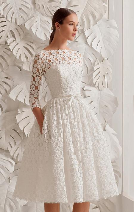 مدل لباس عروس کوتاه آستین دار