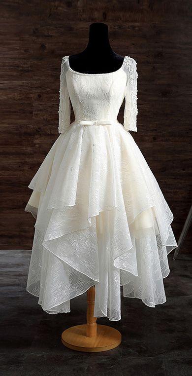 لباس عروس کوتاه چند دامنه
