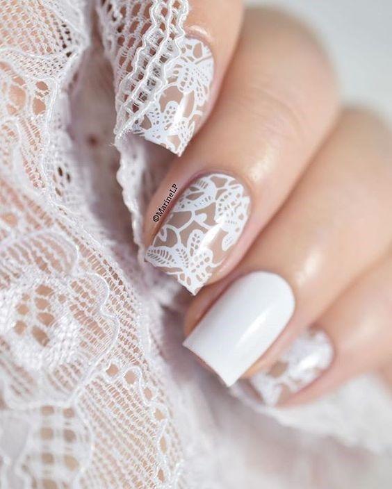 طراحی ناخن عروس هماهنگ با تور سر عروس