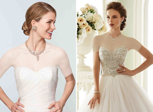 اگر بالاتنۀ لباستان دارای تزئینات سنگ یا جواهر است، حتماً سعی کنید از حداقل جواهر مانند یک گردنبند یا زنجیر ظریف و کوچک استفاده کنید.