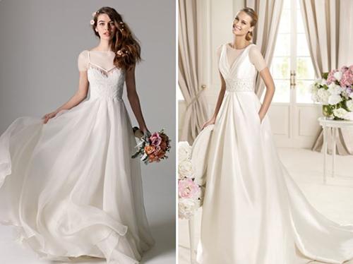 یقه V برای لباس عروس خانم هایی که دارای اندام تیپ ساعت شنی یا تیپ مستطیل هستند مناسب است.