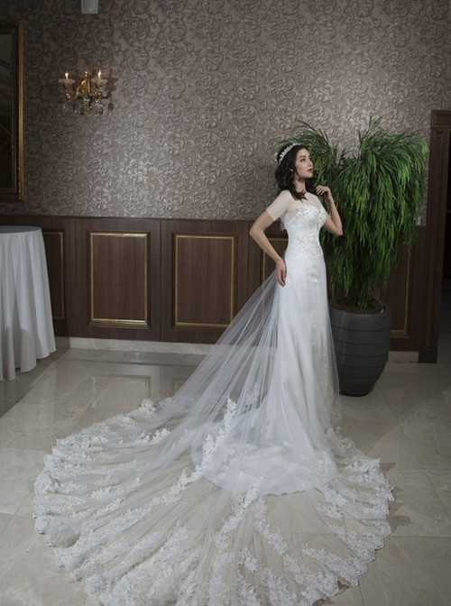 دنبالۀ این لباس از جنس دانتل ابریشمی بوده، بسیار بلند و در عین حال، زیباست و همین به جذابیت و زیبایی لباس افزوده است