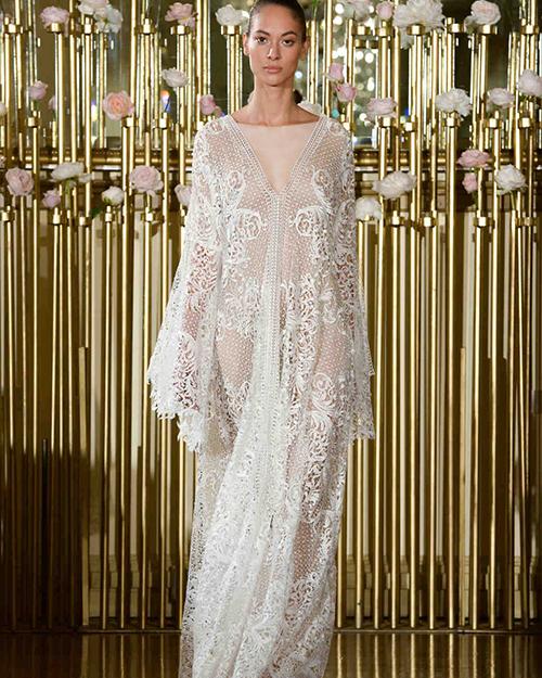 مدل لباس عروس آستین دار در هفته مد بهار 2018