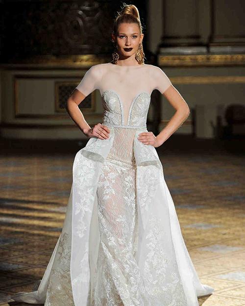 لباس عروس دکلته دو دامنه