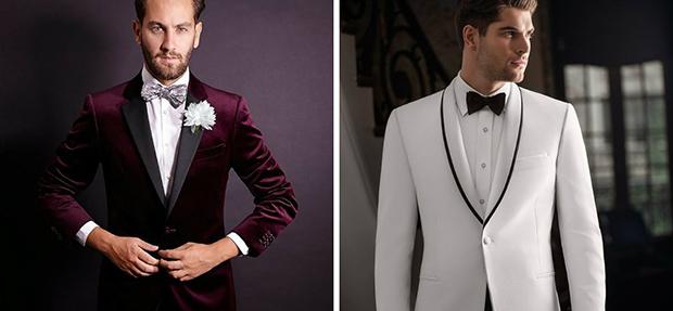 استفاده از پارچه های مخمل کبریتی براق در بین کلکسیون طراحان کت شلوار داماد 2018 بسیار دیده می شود