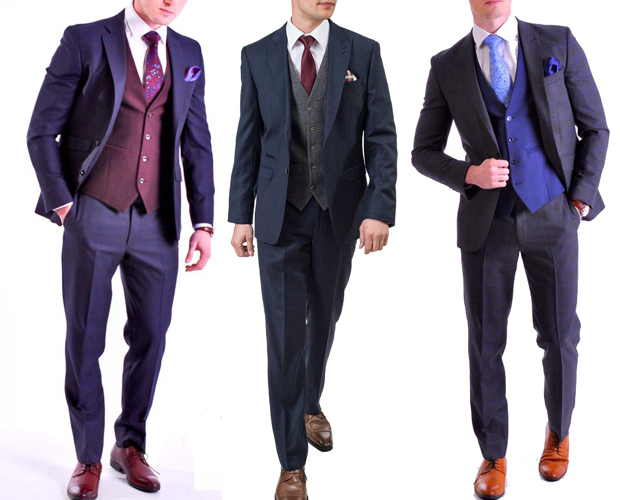 کت شلوار سه تکه مردانه با تنالیته متضاد رنگی