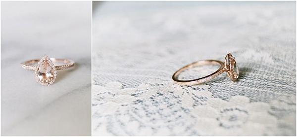 حلقه ازدواج گلابی شکل رزگلد